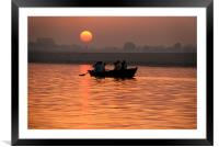 Rowing Boat on the Ganges at Sunrise, Varanasi, In, Framed Mounted Print