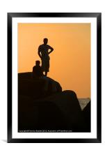 Silhouetted Figures on Rock at Sunset Palolem, Framed Mounted Print