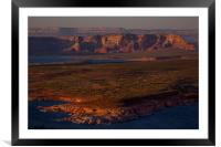Lake Powell at sunset, Framed Mounted Print