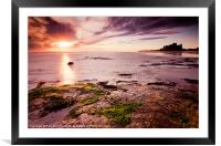 Bamburgh castle and Sunrise, Framed Mounted Print