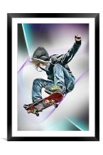 Extreme Skateboarding Jump Closeup, Framed Mounted Print