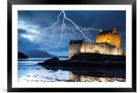 Lightning over Eilean Donan Castle, Framed Mounted Print