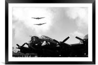 3 Lancs at East Kirkby - Mono, Framed Mounted Print