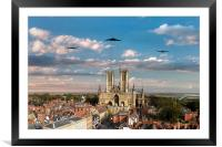 Bombers Over Lincoln , Framed Mounted Print