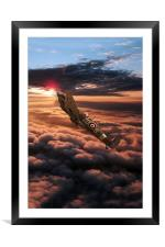 Spitfire Sundown , Framed Mounted Print