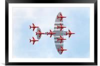 Red Arrows Spitfire Formation, Framed Mounted Print