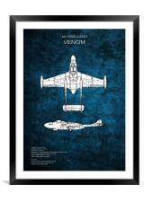 de Havilland Venom, Framed Mounted Print