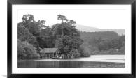 Boat House on Derwent Water. b/w, Framed Mounted Print