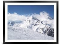 Bansko red slope from chairlift, Framed Mounted Print