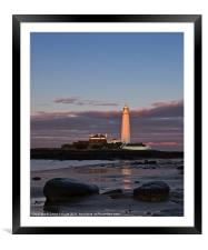 St Marys Lighthouse Sunset, Framed Mounted Print