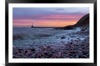 Aberdeen South breakwater light at dawn, Framed Mounted Print