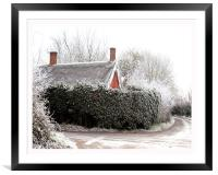 Thatched cottage after a heavy frost, Framed Mounted Print