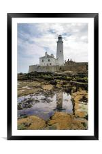 St. Mary's Lighthouse, Framed Mounted Print