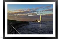 Sunset at St Mary's Lighthouse, Framed Mounted Print
