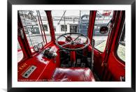 Big Red Bus Driving Cab, Framed Mounted Print