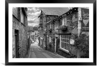 Slate Houses in the Lake District B&W, Framed Mounted Print