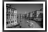 Light Traffic on the Grand Canal - B&W, Framed Mounted Print