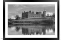 Palace and Church by the Loch - B&W, Framed Mounted Print