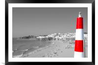 Albufeira Old Town And Beach Black and White, Framed Mounted Print