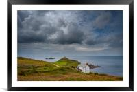 Overcast skies at Cape Cornwall , Framed Mounted Print