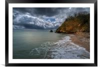 Stormy weather on the Cornwall coast, Framed Mounted Print