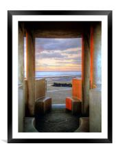 Granite Benches - Cleveleys Prom, Framed Mounted Print
