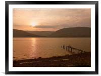 Sunset over Loch Linnhe , Framed Mounted Print