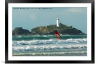 SURFER AT THE LIGHTHOUSE , Framed Mounted Print