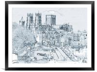 York, in pen and ink, Framed Mounted Print