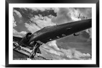 Mirage jet aircraft low monochrome, Framed Mounted Print