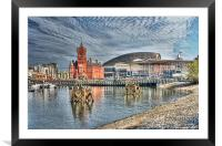 Cardiff Bay Textured, Framed Mounted Print
