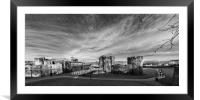 Caerphilly Castle Panorama Mono, Framed Mounted Print