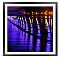 Neon Railings., Framed Mounted Print