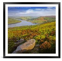 Ladybower and Ashopton Viaduct from Bamford Edge, Framed Mounted Print