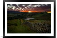 Sundown over the Roman Wall at Sewingshields Crag, Framed Mounted Print