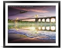Vulcan over the Menai Straits, Framed Mounted Print