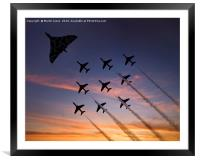 Vulcan XH558 with the RAF Red Arrows, Framed Mounted Print