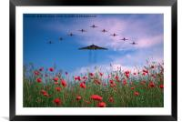 Vulcan XH558 Final Season with the Red Arrows, Framed Mounted Print