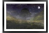Misty Moonlight at Sycamore Gap, Framed Mounted Print