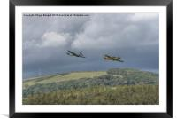 Hurricane and Spitfire Flypast , Framed Mounted Print