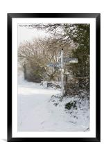 Snowy Cornish Signpost, Framed Mounted Print