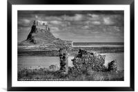 Lindifarne Castle (Holy Island) in Mono, Framed Mounted Print