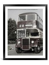 A 1950 Leicester City Double Decker Bus , Framed Mounted Print