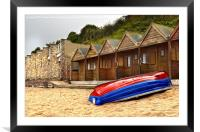 Boat And Beach Huts, Framed Mounted Print