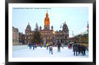 George Square Ice Rink, Framed Mounted Print