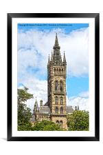 Glasgow University Tower, Framed Mounted Print