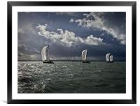 Yachts racing into the light, Framed Mounted Print