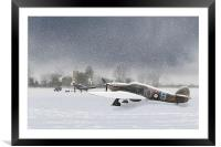 Hurricanes in the snow with church, Framed Mounted Print