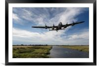 617 Squadron Dambusters Lancaster at low level, Framed Mounted Print