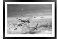 Battle of Britain Day black and white version, Framed Mounted Print
